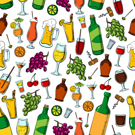 Birthday party drinks and fruits. Cocktails, beverages and desserts seamless pattern background. Wine corkscrew, beer mug, lemonade glass, cocktail, champagne, juice, lime, grape, orange olives and cherries