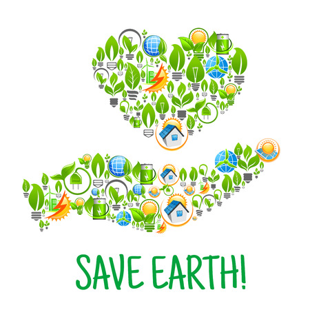 Save Earth. Eco Hand and Heart environmental creative illustration. Natural energy and electricity sources elements. Vector icons leaf, sun, water, wind, solar panel, plug, house. Nature protection and smart power concept