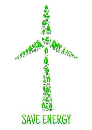 Sparen Sie Energie konzeptionellen Ökologie Kunst Illustration. Grüne Blätter und Lampen in Form von Windenergieanlagen. Kreative Öko-Umwelt-Illustration. Natürliche Energiequelle Element. Vector-Symbol von Strom Mühle Vektorgrafik