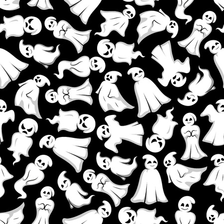 bogey: Halloween background. White ghosts seamless pattern wallpaper. Funny spooks with face expression. Smiling, laughing, scary, angry, indifferent, serious, shy, dancing, floating Cute scary artistic bogey vector cartoon characters Illustration