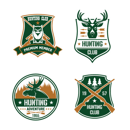 deer hunter: Hunting club shields set. Vector hunt sports emblems. Label elements with animals, birds, rifles, arrows, forest, mountains, owl, deer, elk. Hunter premium membership design for badge, t-shirt outfit