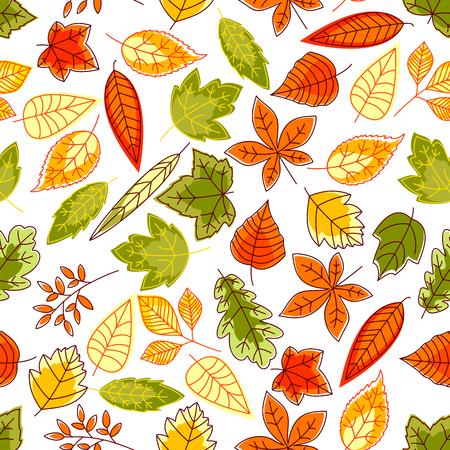 elm: Autumn leaves seamless pattern background. Brush painted september school time wallpaper illustration. Tablecloth print design. Foliage elements of oak, maple, birch, aspen, chestnut, elm, poplar