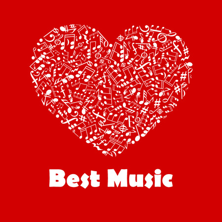 philharmonic: Best Music poster. Musical notes elements in heart shape. Creative graphic illustration for banner, flyer, emblem, icon, radio, festival, concert, advertising web design