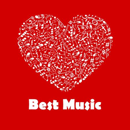 forme: Meilleure affiche de musique. Musical note éléments en forme de coeur. illustration graphique créatif pour bannière, flyer, emblème, icône, radio, festival, concert, conception publicitaire web