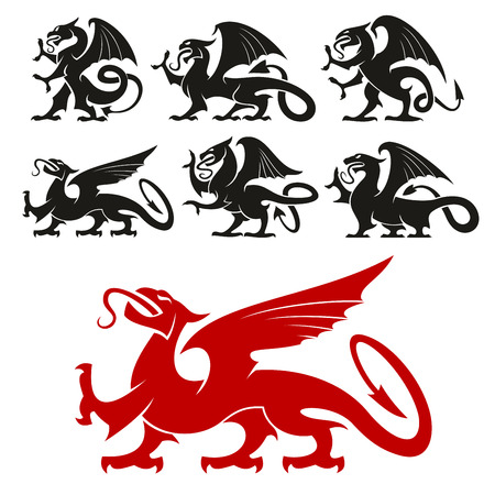 mythical: Heraldic Griffin emblem set and mythical Dragon silhouette elements for tattoo, heraldry or shield crest. Fantasy gothic mythical lion and eagle creature. Vector graphic design