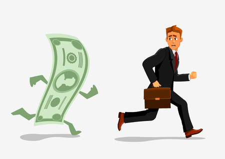 dependency: Businessman escaping dollar. Man running away from banknote. Foreign currency dependency concept. Creative illustration of business, finances, economics, crisis, recession, devaluation.