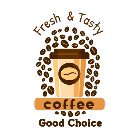 Coffee paper cup with coffee beans. Cafe label and advertising graphic element. Espresso, cappuccino promo emblem for cafeteria, signboard, fastfood menu, coffee shop Illustration