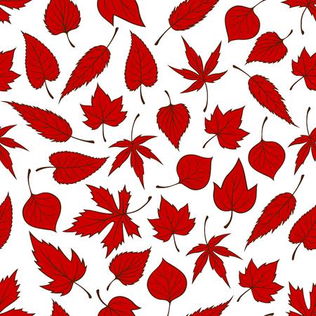 elm: Red falling leaves seamless pattern background. Autumn foliage wallpaper illustration. Print design with vector elements of maple, birch, aspen, elm, poplar