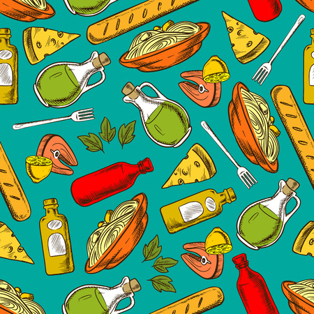 salmon dinner: Food pattern seamless background. Lunch and dinner meal and spices elements. Hand drawn icons of pasta, spaghetti, salmon steak, bread, loaf, cheese, lemon, olive oil, balsamic vinegar, fork