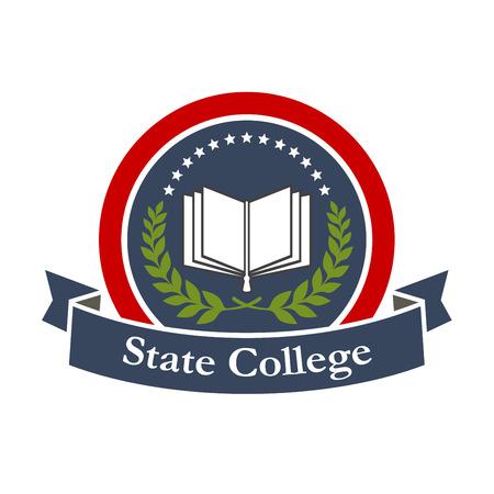 ステート カレッジ エンブレム デザイン本、星、青いリボンと葉の枝。大学、カレッジ、高校のベクトル記章ラベルです。教育と研究のグラフィッ  イラスト・ベクター素材