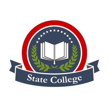 State college emblem design with book, stars, blue ribbon and leaf branch. Vector insignia label for university, college, high school. Education and study graphic icon illustration.