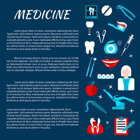 stomatology icon: Dentistry medicine information banner with infographics. Stomatology dental care illustration template for poster, board, leaflet, flyer. Dentist tools and equipment vector elements.