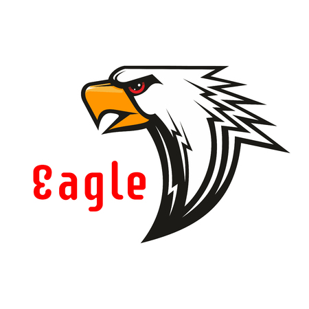 american sport: American Eagle vector emblem. Hawk graphic label for team mascot shield, icon, badge, label and tattoo. Falcon symbol for scout, sport, guard, club identity icons.