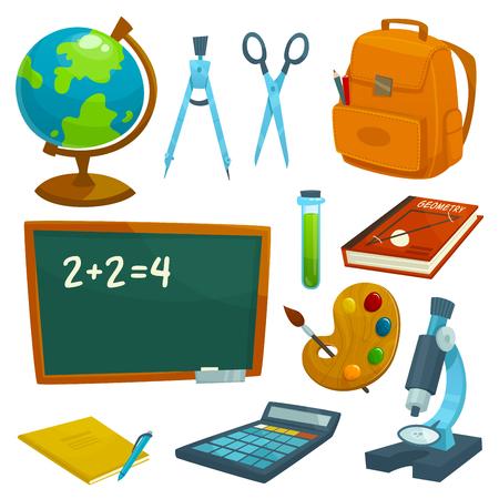 utiles escolares: establecer fuentes de escuela iconos. SchoolBoard, globo, tiza, mochila, libros, libros de texto, bolígrafo, calculadora, tijeras microscopio divisores elementos del vector de probeta Lecciones la paleta de acuarela papelería Vectores
