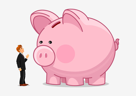 business savings: Businessman with big piggy bank. Money savings growth creative illustration. Vector hand drawn characters man and saving bank. Economics business concept
