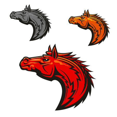 brave of sport: Horse stallion head emblems set. Red, yellow, gray horses graphic mascot. Vector icons for chess or sport club emblem, team shield, icon, badge, label and tattoo.