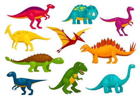 恐竜漫画のコレクション。かわいい t-レックス、ティラノサウルス、翼竜、テロダクティル グッズ文字。ベクトルの動物