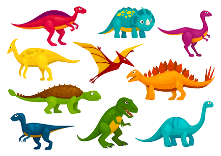 Dinosaurs cartoon collection. Cute t-rex, tyrannosaurus, pterosaur, pterodactyl toy characters. Vector animals