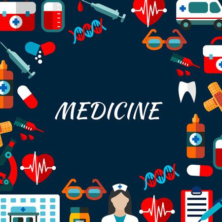 forme et sante: Affiche de médecine icons set. éléments vectoriels médical. Icônes des traitements de soins de santé en cercle forme ronde. infographique de l'hôpital Illustration