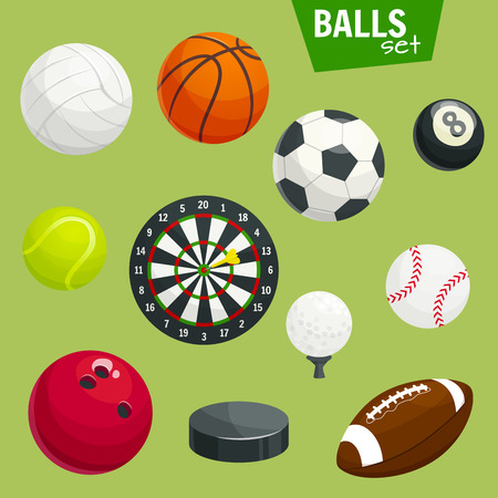 gaming: Sport balls icons set. Sports gaming accessories. Graphic elements of rugby, football, soccer, baseball, basketball, tennis, golf, hockey puck, bowling volleyball cricket billiards darts dartboard