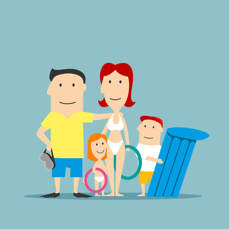 Happy parents with daughter and son in swimwear with inflatable swim rings and float on summer vacation. Family summer vacation, weekend getaway or travel concept design. Cartoon style