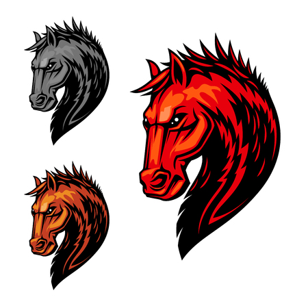dreadful: Flaming horse head symbol of dreadful stallion with orange fur and mane with pattern of fire flames. Equestrian sport competition, mascot or t-shirt print design Illustration