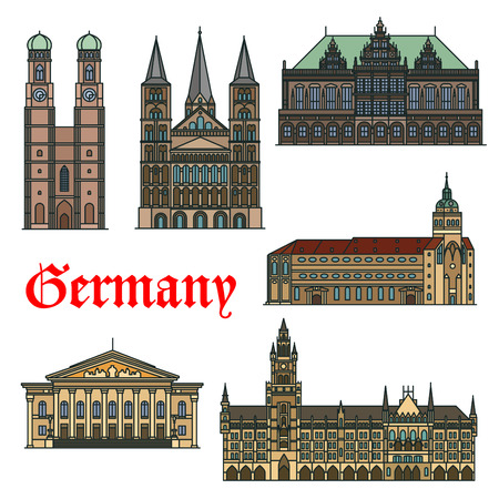 Religious and cultural landmarks of german architecture icon with Bonn Cathedral, Bremen Town Hall and National Theatre, New Town Hall, St. Peter Church and Frauenkirche Cathedral
