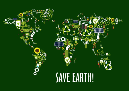 recycling symbols: Save earth concept icon with world map composed of solar panels, recycling signs and light bulbs with green leaves, electric cars, green eco energy, biofuel and bicycles, flowers, water and industrial pollution symbols