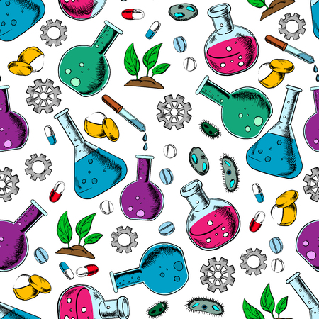 plant cell: Seamless pattern of laboratory flask, pill, chemical powder, bacteria cell, green plant and gear for medical, pharmaceutical and botanical research. Scientific laboratory theme design