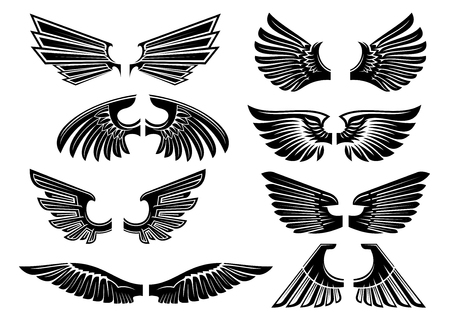 spread wings: Heraldic wings of angel or bird black silhouettes of spread wings with tribal stylized plumage and pointed feathers. Heraldry theme or tattoo design Illustration