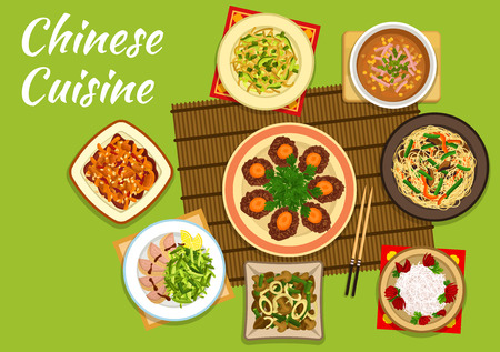 Chinese cuisine dihes with crispy noodles and peking duck salad, kung pao chicken with chili pepper and peanuts, daikon salad and chicken and corn soup, beef lo mein noodles, squid and mushroom stew and golden coin beef steak