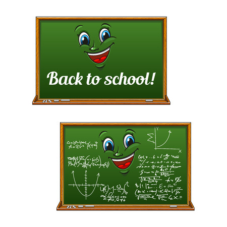 teorema: School chalkboard cartoon characters with mathematics chalk formula, graph and caption Back to School. For education theme or childish book hero design usage