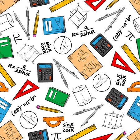 theorem: Mathematics seamless pattern of books and pencils, rulers, calculators and compasses, geometric figures, drawings and algebra formulas. Education and back to school theme design