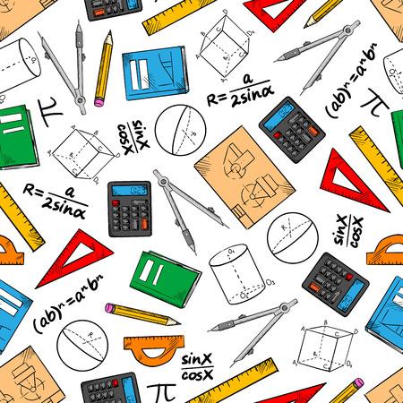Modelo inconsútil de las matemáticas de los libros y lápices, reglas, calculadoras y brújulas, figuras geométricas, dibujos y fórmulas de álgebra. Educación y de nuevo a diseño tema de la escuela Ilustración de vector