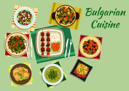 casserole: Traditional national dishes of bulgarian cuisine with lamb kebab and vegetables, cabbage rolls sarmi and pork with prunes, cabbage soup, lamb and vegetable casserole guvech, spicy vegetable and meat salads. Flat style