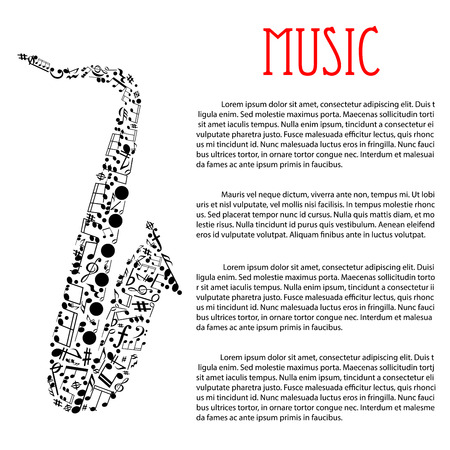 chords: Jazz music festival or concert poster design template with abstract silhouette of saxophone composed of musical notes and chords, key signatures, treble and bass clefs. For music event promotion or flyer design