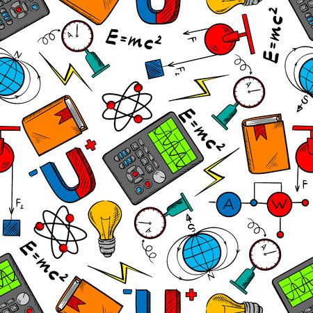 Physics science seamless pattern of book, light bulbs and electric circuits, models of atom and earth magnetic field, electrical measurement and test instruments, formulas and magnets