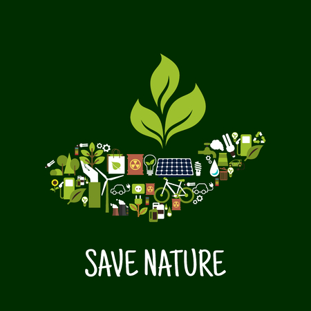 biofuel: Save nature concept icon with green plant in human hand, compossed of solar panel, wind turbine, energy saving light bulbs, electric cars, biofuel, bicycle, recycling sign, flowers, trees, industrial pollution, nuclear waste