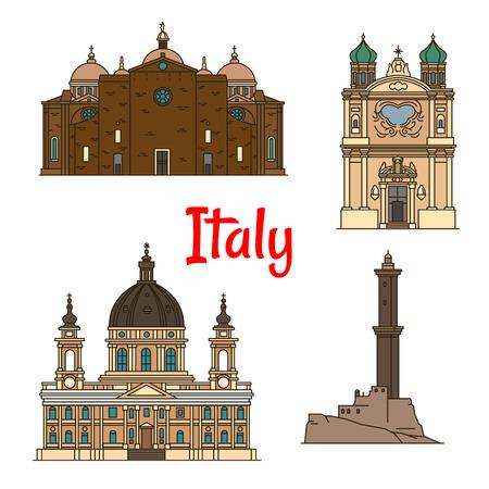 Travel landmarks of italian provinces thin line icons with Lighthouse of Genoa, Church of the Madonna della Costa in Sanremo, Basilica di Superga in Turin, Basilica of Santa Giustina in Padua Illustration