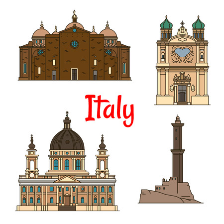 turin: Travel landmarks of italian provinces thin line icons with Lighthouse of Genoa, Church of the Madonna della Costa in Sanremo, Basilica di Superga in Turin, Basilica of Santa Giustina in Padua Illustration