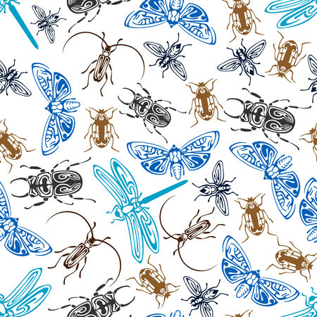 adorned: Seamless pattern of bugs and flying insects, adorned by ethnic tribal ornaments. Seamless background of moths, flies and dragonflies, stag beetles, stink bugs and click beetles Illustration