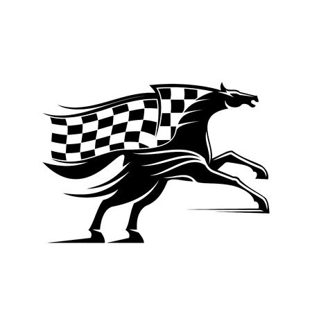 corse di cavalli: simbolo stallone Cavallo da corsa allevamento fino pronto a correre con il fluire corsa di bandiera in una forma di criniera. Di cavalli da corsa o distintivo di design sport equestre