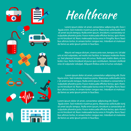 first form: Healthcare and hospital poster design template with flat icons of doctor, ambulance, aid kit, hospital building, blood bag, heart, tooth, microscope, capsules, syringe, DNA helices, plaster glasses