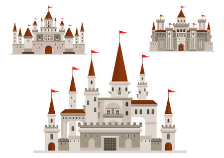 fortified: Medieval castles of fairytale kingdom palace, fortified fortress of brave king and royal residence with walls and towers, vintage arched windows with balconies, turrets with flags Illustration
