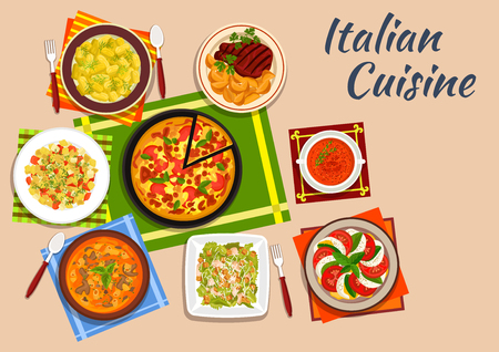 pasta salad: National italian cuisine with margarita pizza surrounded by tomato and mozzarella salad and potato gnocchi, pasta soup and caesar salad, grilled steak, vermouth soup and pasta salad Illustration