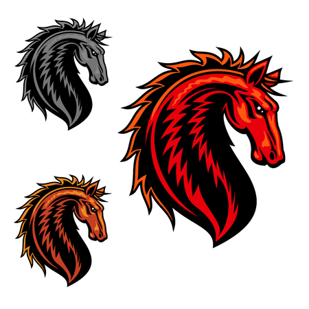Wild mustang horse mascot with fiery red spiky mane and curved neck. Equestrian sporting symbol, horse racing or sports team mascot design