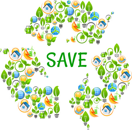 renewable resources: Saving energy and renewable resources icons arranged into recycling symbol with solar panels and wind turbines, light bulbs, globes and batteries with plants and suns, eco friendly houses and cities Illustration