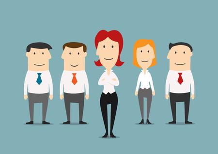 자신감이 비즈니스 여자가 향하고 성공적인 관리자의 비즈니스 팀. 팀워크, 사무실 직원, 인적 자원, 리더십 및 경력 기회 테마 디자인을위한 비즈니스