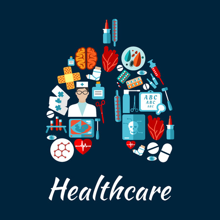 Healthcare icons arranged into a human lungs with doctor, heart, brain, eyes, pills, medication bottle, syringe, thermometer, blood test tube, bacteria and molecule, baby ultrasound, x-ray scan