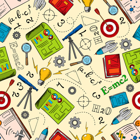Physics, mathematics and chemistry background. Education seamless pattern with books, drawings and idea light bulbs, telescopes, rockets and targets, formulas, theorems, numbers, gears and magnifiers Vettoriali